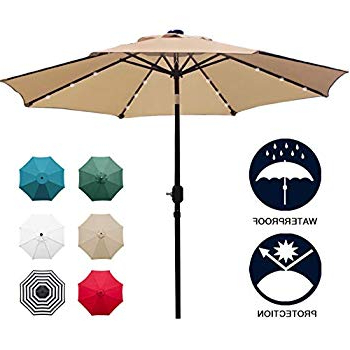 Preferred Amazon : Tourke 9Ft Led Lighted Patio Market Umbrella Outdoor With Regard To Coggeshall Led Lighted Market Umbrellas (View 17 of 25)