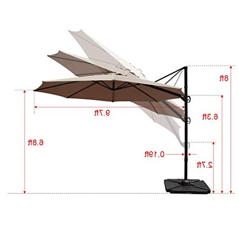 Preferred Cockermouth Rotating Cantilever Umbrellas In Cobana 10Ft Cantilever Offset Patio Umbrella With Vertical Tilt And 360  Degree Rotation Function, Beige (View 24 of 25)