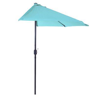 Preferred Dade City North Half Market Umbrellas Throughout 9' Blue Half Round Patio Umbrella (View 23 of 25)