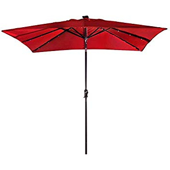 Preferred Fordbridge Rectangular Market Umbrellas Inside Abba Patio 97 Feet Rectangular Patio Umbrella With Solar Powered 32 Led  Lights With Tilt And Crank, Dark Red (View 15 of 25)
