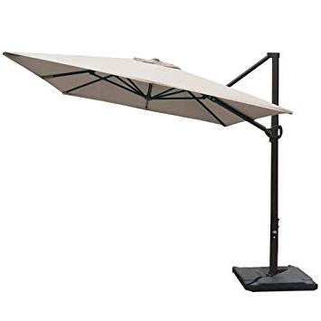 Preferred Fordwich  Rectangular Cantilever Umbrellas In Abba Patio Rectangular Offset Cantilever Outdoor Patio Hanging Umbrella  With Cross Base, 8 X 10 Feet, Cream (View 7 of 25)