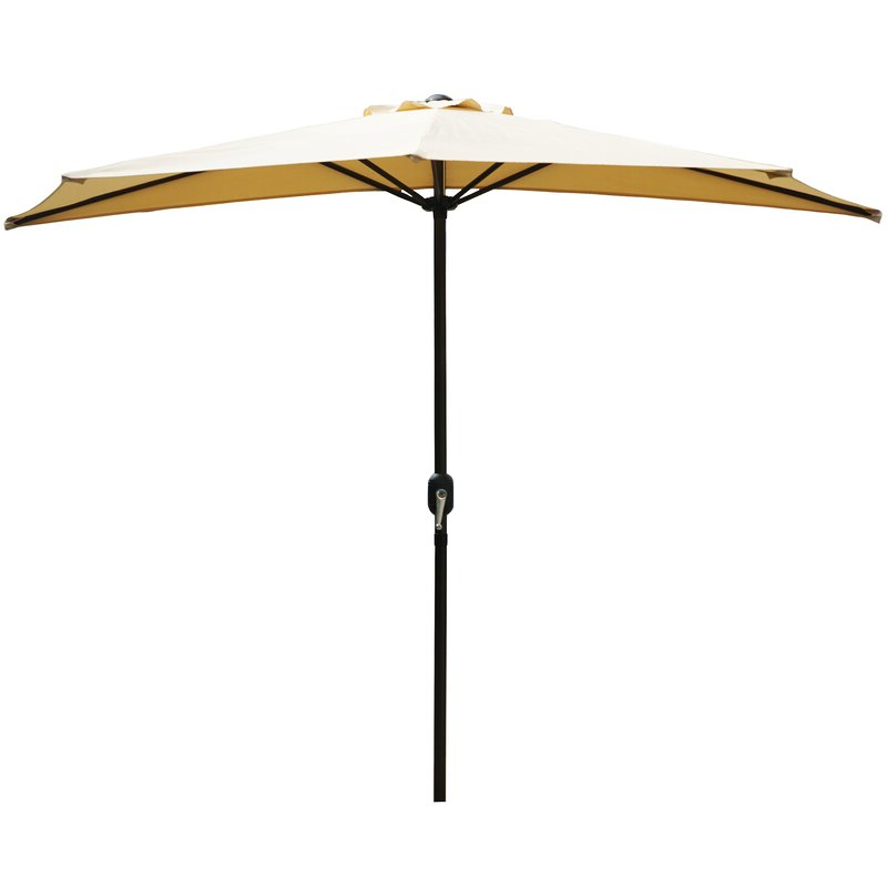 Preferred Half Round Market Umbrellas Intended For Alder 9' Half Round Outdoor Patio Market Umbrella (View 3 of 25)