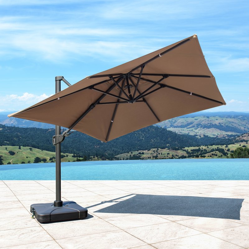 Preferred Krystal Square Cantilever Sunbrella Umbrellas Regarding Bridgnorth 10' Rectangular Cantilever Sunbrella Umbrella (View 8 of 25)