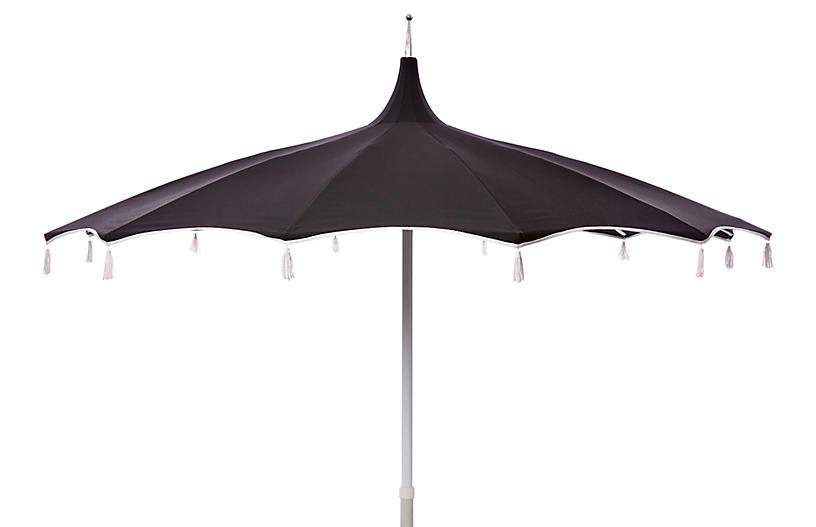 Preferred Lizarraga Market Umbrellas Inside Rena Tassel Patio Umbrella, Black – Poolside Style – Outdoor (View 13 of 25)