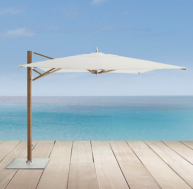 Preferred Norah Rectangular Market Umbrellas Intended For Tuuci® 10' X 14' Ocean Master Max Cantilever Aluma Teak™ Umbrella In (View 21 of 25)