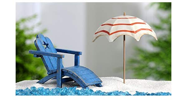 Preferred Seaside Beach Umbrellas With Regard To Miniature Fairy Garden Seaside Beach Chair & Beach Umbrella: Amazon (View 19 of 25)