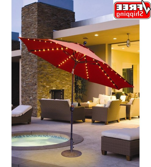 Preferred Wiebe Auto Tilt Square Market Sunbrella Umbrellas Pertaining To Evening Party Umbrellas – Led Lighted Galtech 9 Ft Auto Tilt Patio (View 20 of 25)