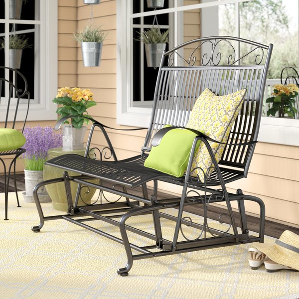 Purchase Callen 49 Outdoor Patio Swing Glider Bench Chair – Dark Intended For Newest Gries Rectangular Market Umbrellas (View 15 of 25)