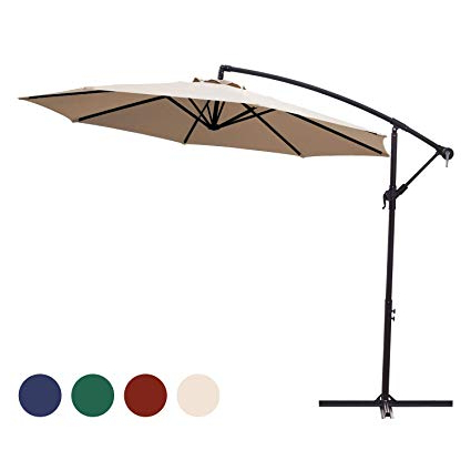 Recent Cantilever Umbrellas Within Kingyes 10Ft Patio Offset Cantilever Umbrella Market Umbrella Outdoor  Umbrella Cantilever Umbrella,with Crank & Cross Base (Beige) (View 1 of 25)