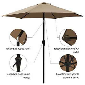 Recent Cobana 7.5 Ft Patio Umbrella Outdoor Table Market Umbrella With Push Button  Tilt And Crank, 6 Ribs, Beige with regard to Muldoon Market Umbrellas