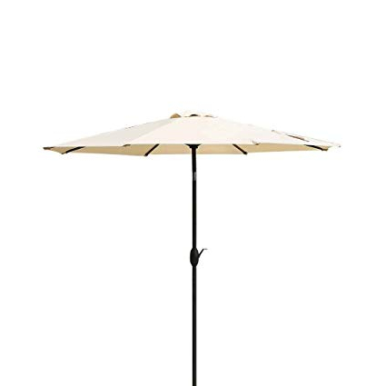 Recent Masvis 9 Ft Aluminum Patio Umbrella Outdoor Table Market Umbrellas With  Push Button Tilt And Crank, Safety Bolt,8 Aluminum Ribs (9 Ft, Beige) with regard to Market Umbrellas