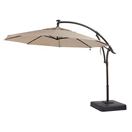 Recent Solar Powered Led Patio Umbrellas with regard to Hampton Bay 11 Ft. Offset Led Patio Umbrella In Tan (132X111X132, Sand)