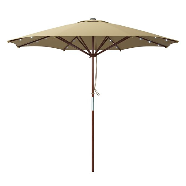 Recent Solar Powered Led Patio Umbrellas With Regard To Taupe Patio Umbrella With Solar Power Led Lights (View 11 of 25)