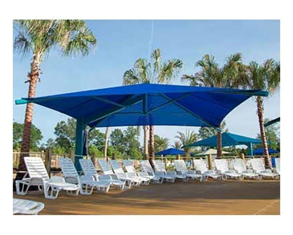 Recent Square Fabric Cantilever Umbrella Shade Structure With 12 Ft. Entry Height  And Single Steel Post - Base Model intended for Anna Cantilever Umbrellas