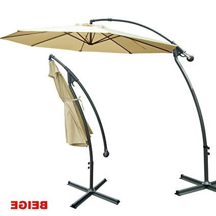 Recent Strong Camel 10' Cantilever Patio Umbrella Offset Hanging Banana Sunshade  Garden Beige Regarding Tallulah Sunshade Hanging Outdoor Cantilever Umbrellas (View 16 of 25)