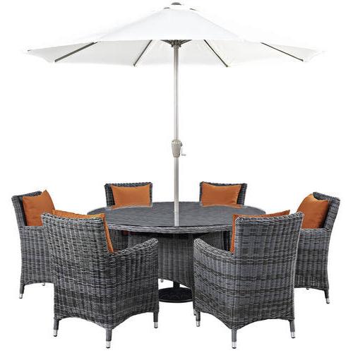 Recent Summon 8 Piece Outdoor Patio Sunbrella Dining Set Canvas Tuscanmodern  Living with Madalyn Rectangular Market Sunbrella Umbrellas