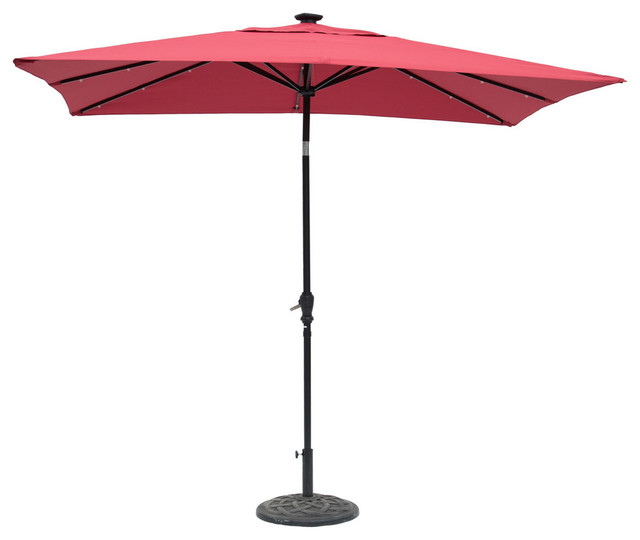 Recent Sun Ray Solar Cantilever Umbrellas Intended For Sun Ray Rectangular Solar Lighted Umbrella, Scarlet, 9'x7' (View 14 of 25)