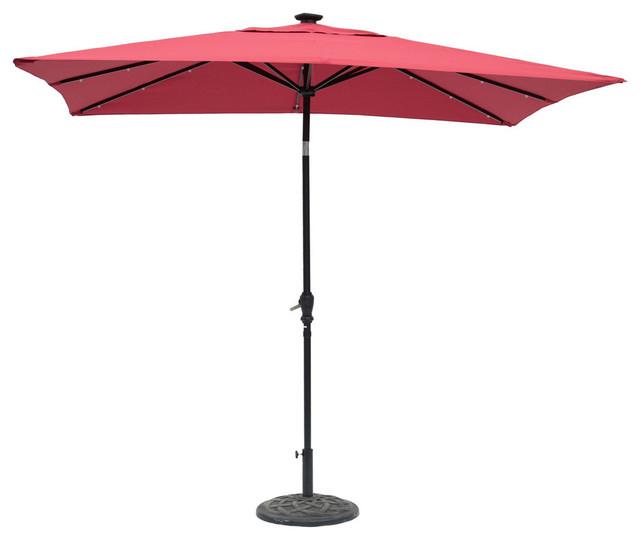 Recent Sun Ray Solar Cantilever Umbrellas Intended For Sun Ray Rectangular Solar Lighted Umbrella, Scarlet, 9'x7' (View 10 of 25)