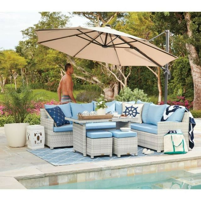 Recent Sun Ray Solar Cantilever Umbrellas With 11 Foot Round Cantilever Umbrella Solar Led Lights Patio Adjustable Tilting  Tan (View 11 of 25)