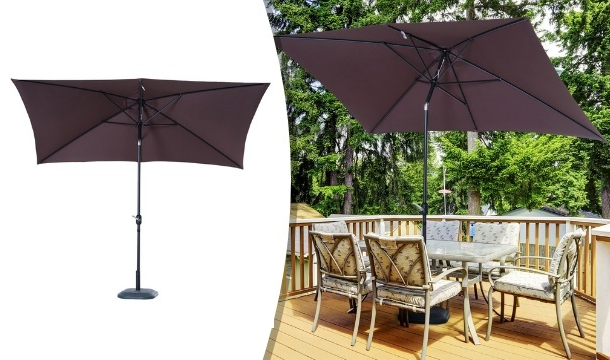 Rectangular Patio Umbrella Regarding Longshore Tides Zadie Twin 9 X Throughout Most Popular Zadie Twin Rectangular Market Umbrellas (View 17 of 25)