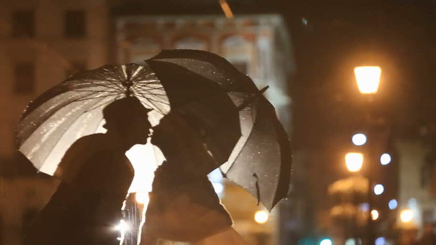 Romantic Noir Styled Couple Under Rain Stock Footage Video (100 For Best And Newest Venice Lighted Umbrellas (View 13 of 25)