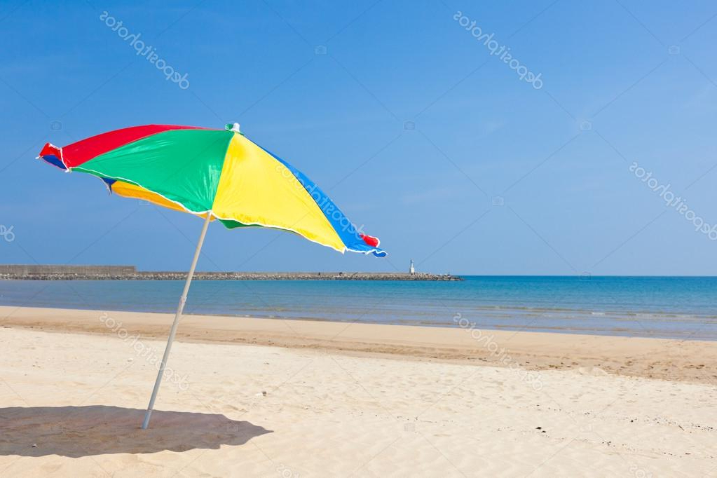 Seaside Beach Umbrella — Stock Photo © Kenjii #18363291 Regarding Fashionable Seaside Beach Umbrellas (View 7 of 25)