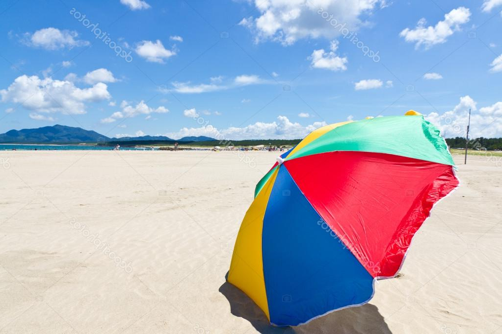 Seaside Beach Umbrella — Stock Photo © Kenjii #18364773 For Most Up To Date Seaside Beach Umbrellas (View 13 of 25)