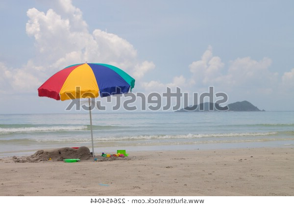 Seaside Beach Umbrellas With Regard To Most Current Tropical Beach Summer Beach Umbrella Seaside Stock Photo (Edit Now (View 14 of 25)