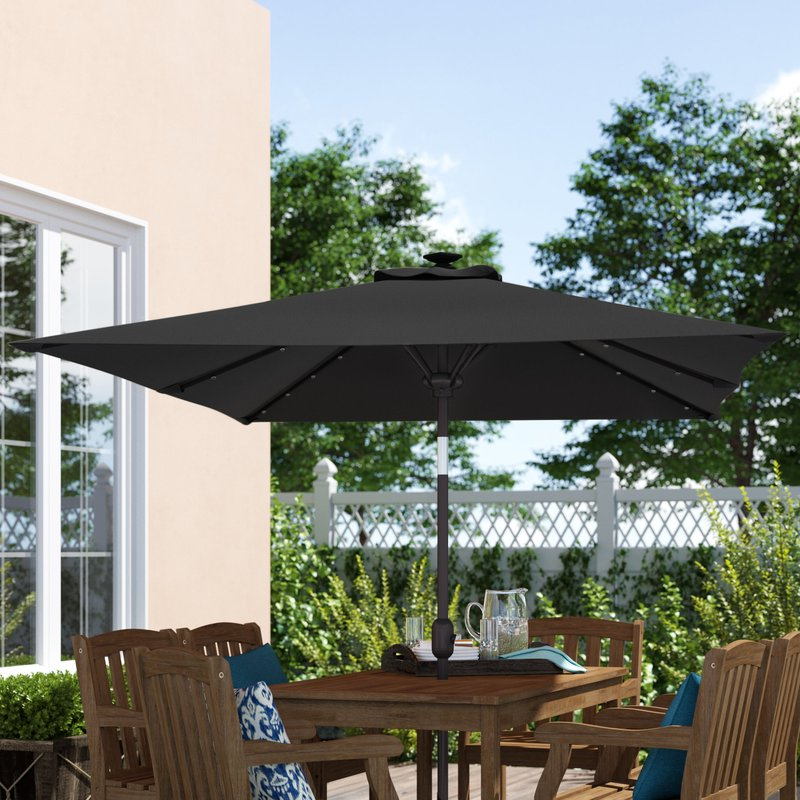 "Sherlyn Rectangular Market Umbrellas With Current Eliana Solar Lighted Sunshade Tilt Crank 10' X 6'6"" Rectangular Market  Umbrella (View 20 of 25)"