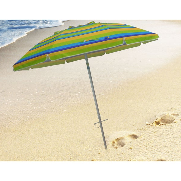 Shop 7 Foot Stripe Beach Umbrellas With Tilt And Travel Bag – Free In Popular Margaritaville Green And Blue Striped Beach With Built In Sand Anchor Umbrellas (View 22 of 25)