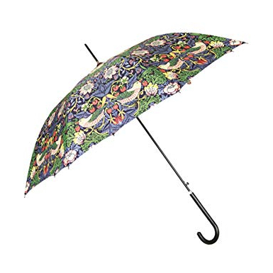 Signare Womens Automatic Stick Umbrella In William Morris Strawberry Thief  (Blue) Inside Fashionable Gainsborough Market Umbrellas (View 21 of 25)