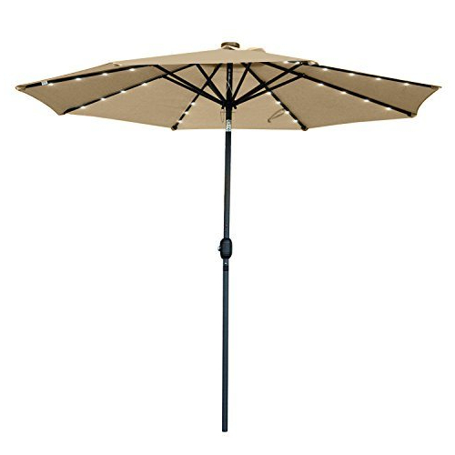 Snail 9' Solar Powered Led Patio Umbrella With 32 Lights, Fade Resistant Garden Aluminum Table Umbrella With Push Button Tilt, Beige 1 Unit / Carton Pertaining To Best And Newest Solar Powered Led Patio Umbrellas (View 14 of 25)