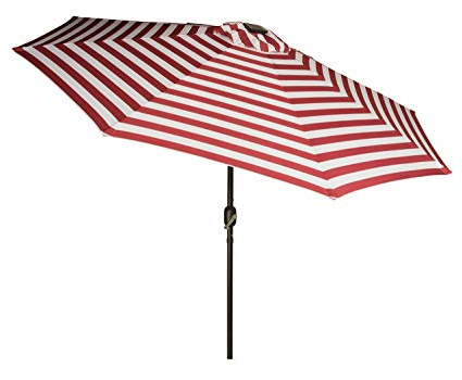 Solar Powered Led Patio Umbrellas For Recent Trademark Innovations Deluxe Solar Powered Led Lighted Patio Umbrellas, 9',  Red Striped (View 23 of 25)