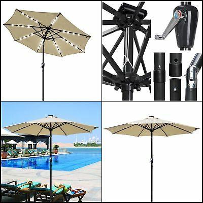 Solar Powered Led Patio Umbrellas In Fashionable Solar Powered Led Patio Umbrella Outdoor Market Garden Table Crank Tilt Uv30 9Ft (View 19 of 25)