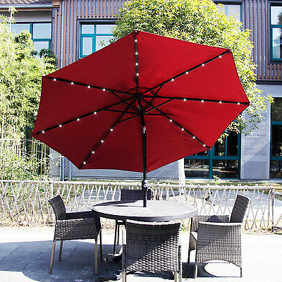 Solar Powered Led Patio Umbrellas In Preferred 9Ft Outdoor Metal Solar Powered Led Patio Umbrella Table Window Awning  Garden (View 18 of 25)