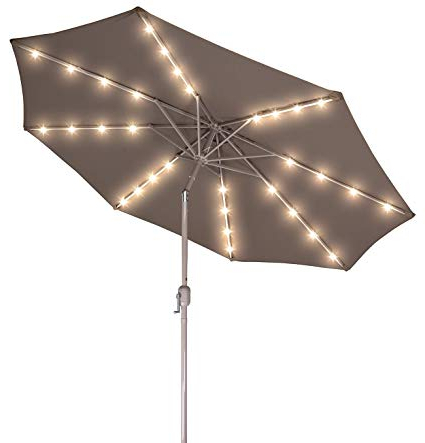 Solar Powered Led Patio Umbrellas Intended For Widely Used Deluxe Solar Powered Led Lighted Patio Umbrella – 9' With Champagned Color  Frame  Trademark Innovations (Tan) (View 19 of 25)
