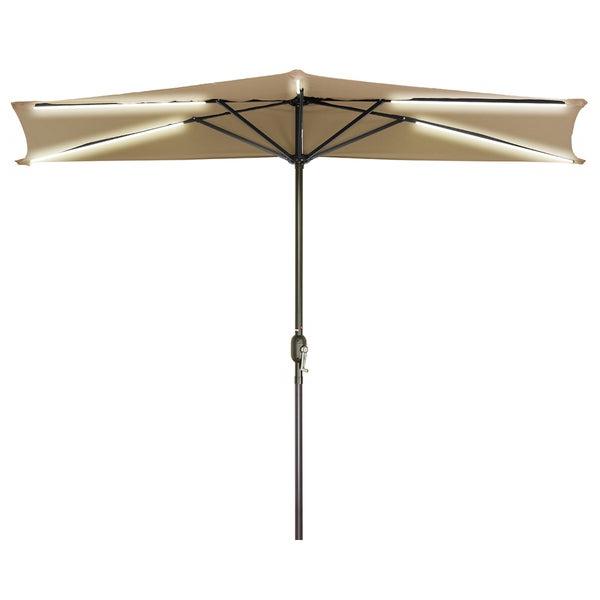 Solar Powered Led Patio Umbrellas Regarding Trendy 9' Solar Powered Led Strip Lighted Half Patio Umbrellatrademark Innovations (Tan) (View 9 of 25)
