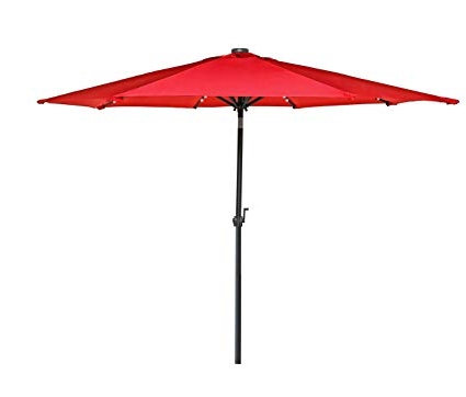 Solar Powered Led Patio Umbrellas Within Fashionable Hermo 98 Roun 9 Ft Outdoor Solar Power Led Patio Umbrella, Red (View 21 of 25)