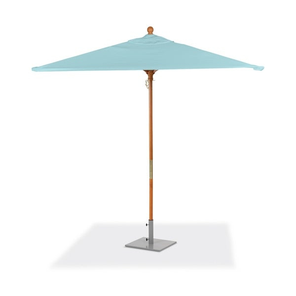 Solid Market Umbrellas Throughout Most Recent Shop Oxford Garden 6 Feet Square Mineral Blue Sunbrella Fabric Shade (View 19 of 25)