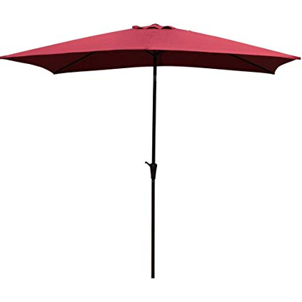 Solid Rectangular Market Umbrellas Pertaining To Most Recent Cobana Rectangular Patio Umbrella, Outdoor Table Market Umbrella With Push  Button Tilt/crank, 6.6' By (View 4 of 25)