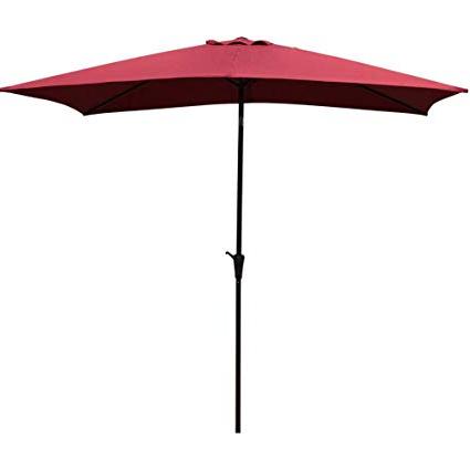Solid Rectangular Market Umbrellas Pertaining To Most Recent Cobana Rectangular Patio Umbrella, Outdoor Table Market Umbrella With Push Button Tilt/crank, 6.6' By (View 4 of 25)