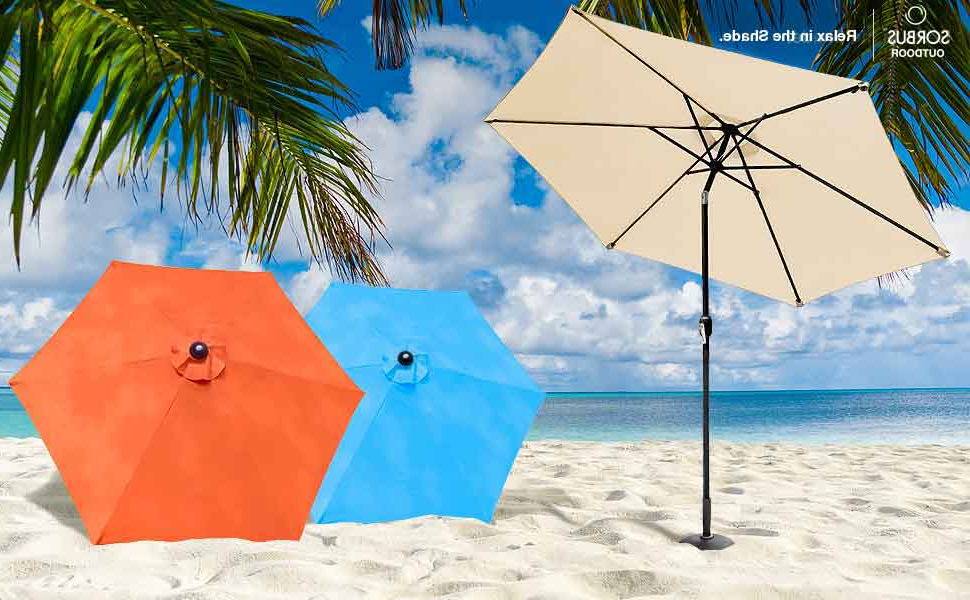 Sorbus Outdoor Umbrella, 10 Ft Patio Umbrella With Tilt Adjustment And  Crank Lift Handle, Perfect For Backyard, Patio, Deck, Poolside, And More Within Latest Isom Market Umbrellas (View 23 of 25)