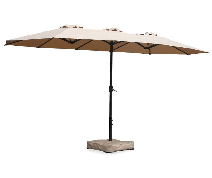 Stacy Market Umbrellas Within Popular Tan Double Top Market Patio Umbrella With Base, (15') At Big Lots (View 22 of 25)