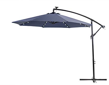 Sun Ray 10' Solar Lighted Offset Solar Umbrella (Navy) Inside Best And Newest Sun Ray Solar Cantilever Umbrellas (View 1 of 25)
