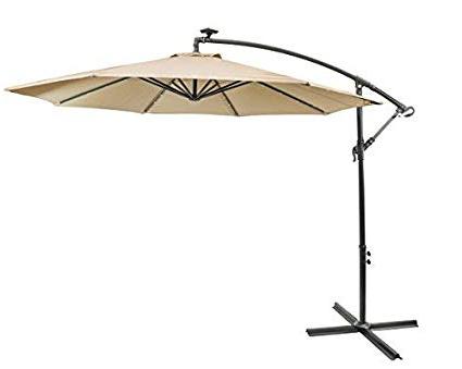 Sun Ray 811044 10' Round Cantilever 8 Rib Offset Solar Patio Umbrella 24  Led Lights, Crank With Adjustable Tilt, Cross Base, Aluminum Frame, 10 Ft Pertaining To Recent Sun Ray Solar Cantilever Umbrellas (View 14 of 25)