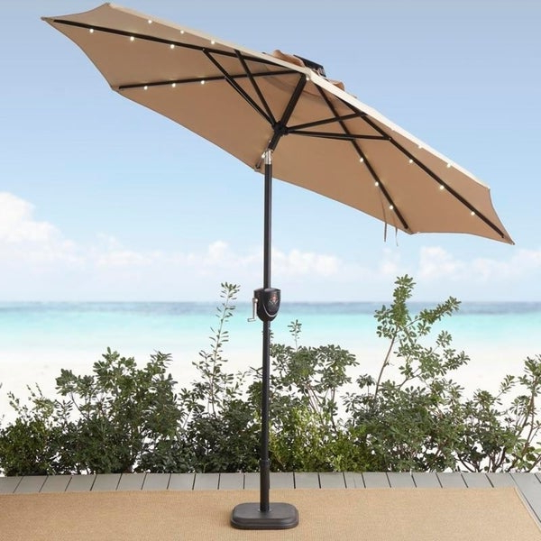 Sun Ray Solar Cantilever Umbrellas In Favorite Shop Sun Ray 9' Round 8Rib Alumnm Bluetooth Solar Lighted Umbrella (View 19 of 25)