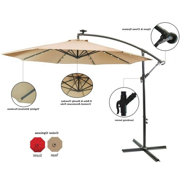 Sun Ray Solar Cantilever Umbrellas Intended For Most Recently Released Shop Sun Ray 10' Offset Solar Umbrella – Free Shipping Today (View 18 of 25)