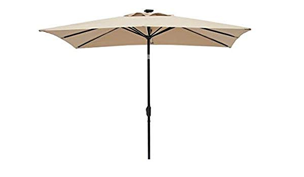 Sun Ray Solar Cantilever Umbrellas Intended For Well Known Amazon : Sun Ray 811031 Rectangular Next Gen 8 Rib Solar Patio (View 19 of 25)