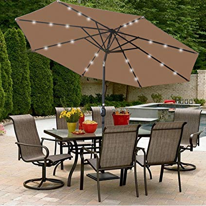 Super Deal 10 Ft Patio Umbrella Led Solar Power, With Tilt Adjustment And Crank Lift System, Perfect For Patio, Garden, Backyard, Deck, Poolside, And In Popular Solar Powered Led Patio Umbrellas (View 2 of 25)