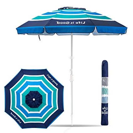 Tilt Beach Umbrellas Throughout 2017 Life Is Good Aligumb Gb 1Pk Beach Umbrella With Sand Anchor, Towel Hook,  And Tilting Pole, Green/blue (View 13 of 25)